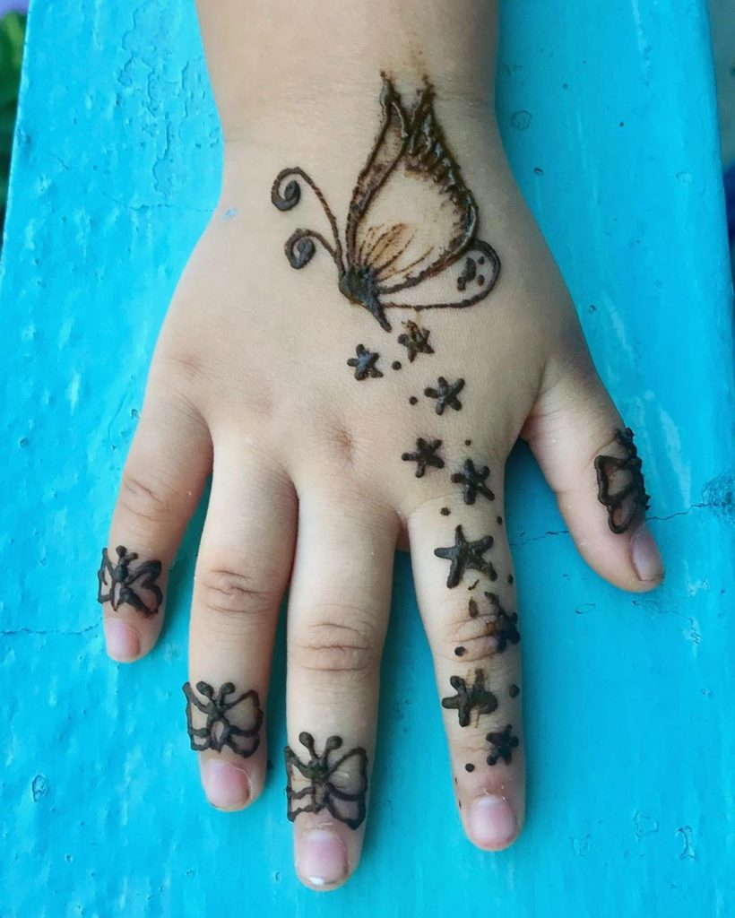 15+ Unique Mehendi Designs for Kids Hands– Check Out Now!, Butterfly Design