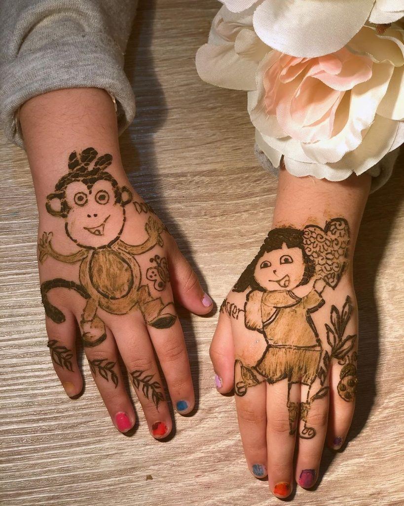 15+ Unique Mehendi Designs for Kids Hands– Check Out Now!, Cartoon Design