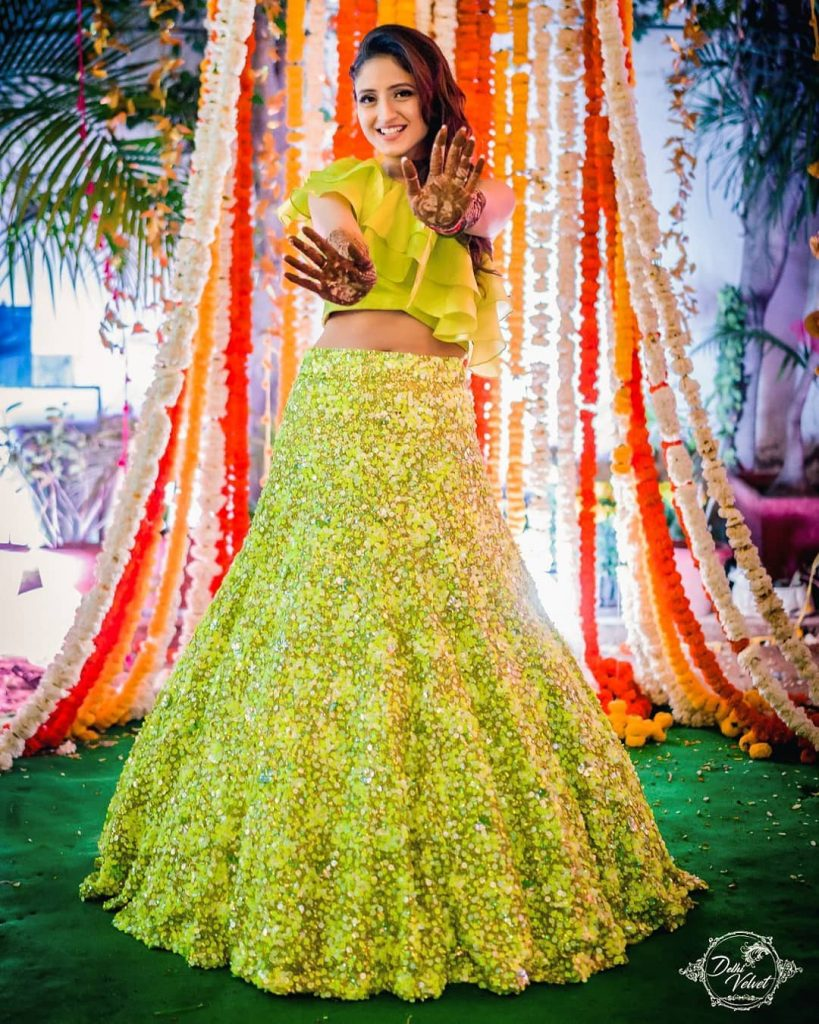 green bridal outfit