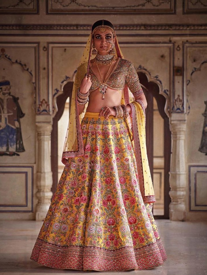 Multi-Colored Lehengas For Your Pheras That Are Trending On Instagram, sabyasachiofficial sabyasachiofficial 15990378208350