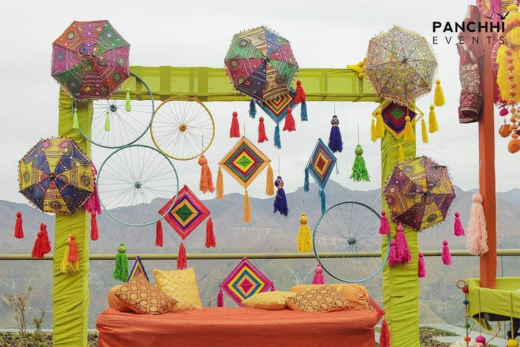 Trendy Outdoor Mehendi Seating Ideas for Brides, instagramphotodownload.com Panchhi Events